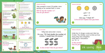 Year 1 Treasures in the Garden Reasoning Differentiated Maths Challenge Cards - reasoning, mastery, Year 1, solve, problem