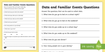 Data and Familiar Events Questions Activity Sheet - Australian Curriculum Statistics and Probability, Worksheet, data representation and interpretation,