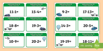 Subtraction From 20 Cards English/Romanian - Subtraction From 20 Cards - subtraction, cards, 20, from 20, substraction, suntraction, EAL