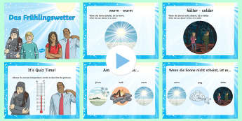 Spring Weather Temperature Adjectives PowerPoint German - Spring, temperature, German, weather, adjectives, season