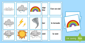 Types of Weather Snap Game French - French Games, french snap games, french weather, french card games, french group games.,Scottish-tra