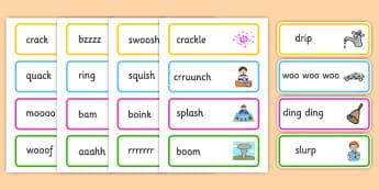 Onomatopoeia Word Cards - onomatopoeia, word cards, literacy
