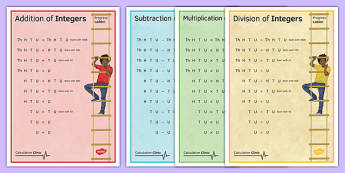 Calculation Clinic Progress Ladder Posters Integers - KS3, KS4, GCSE, Maths, calculation, addition, subtraction, multiplication, division, low ability, practise, assessment