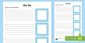 Ma Da Is Braw Because... Scots Activity Sheet - CfE Father's Day June 18th,Scottish, worksheet