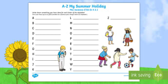 A-Z My Summer Holiday Writing Frame English/French - A-Z My Summer Holiday Writing Frame - a-z, summer, my summer holiday, writing frame, holiday,adjacen