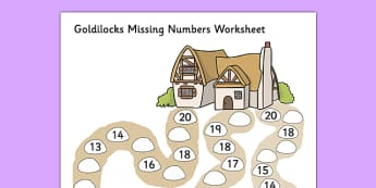 Goldilocks Missing Numbers Worksheet - goldilocks, worksheet