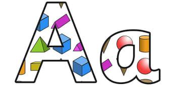 3D Shapes Display Lettering - 3d shapes, 3d shapes lettering, shapes, shapes display, shape themed display lettering, shape themed alphabet, shapes a-z