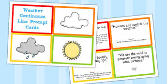 Weather Continuum Line Prompt Cards - weather, prompt, cards