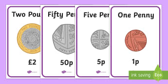 British (UK) Money Coins and Notes Display Posters KS1 - money
