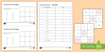 Simplifying Ratios Bingo - simplifying ratios, ratio, converting units, measurements.