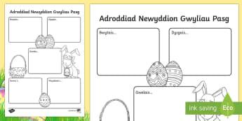 Newyddion y Pasg Fframiau Ysgrifennu - Y Pasg, Easter,Welsh Newyddion y Pasg Fframiau Ysgrifennu