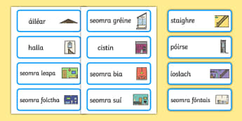 Codanna den teach Word Cards Gaeilge - gaeilge, parts, house, parts of a house, word cards