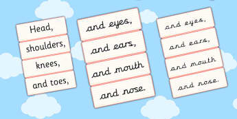 Head Shoulders Knees and Toes Word Cards - cards, head, knees