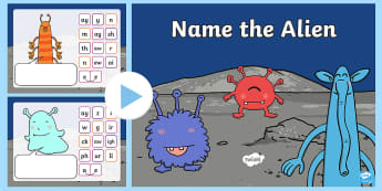 Phonics Screening Phase 2, 3, and 5 Name the Alien PowerPoint - phonics, phase 2, phase 3, phase 5, alien words, nonsense words, phoneme, grapheme, digraph, trigrap