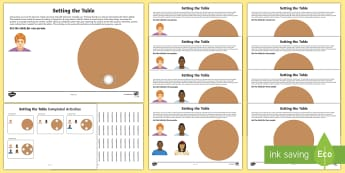 Workstation Pack: Setting the Table 2 Activity Pack - TEACCH, autism, ASD, ASDAN, maths p4, maths p5, p scales, life skills, laying the table