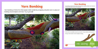Yarn Bombing Outdoor Activity Sheet - CfE Outdoor Learning, nature, forest, woodland, playground, stick, wool, colours, yarn storm, yarn s