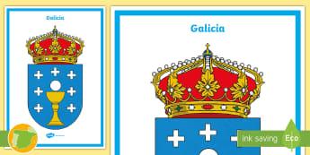 Póster: El escudo de Galicia - Mapas, provinicias, mapas mudos, mapas en blanco, las ciudades de españa, comarcas, concejos, comun
