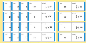 Fractions of a Number: I Have, Who Has Cards - fractions of a number, fraction, loop card, cards, flashcards, loop, image, fractions, decimal, percentage, one whole, half, third, quarter, fifth, proportion, part, numerator, denominator, equivalent, 1