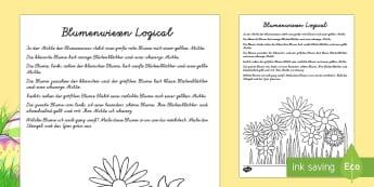 Blumenwiesen Logical Arbeitsblatt: Lesen und Malen - Frühling, Jahreszeiten, Blumen, Logical, spring, seasons, flowers,German.