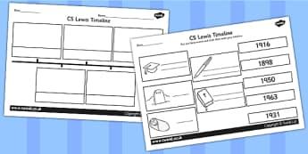C S Lewis Timeline Activity - CS Lewis, narnia, books, stories