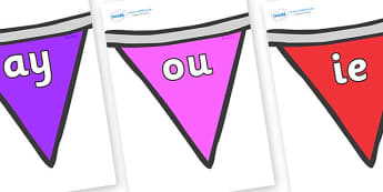 Phase 5 Phonemes on Bunting (Multicolour) - Phonemes, phoneme, Phase 5, Phase five, Foundation, Literacy, Letters and Sounds, DfES, display