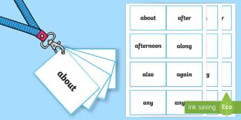 Lanyard Sized Australia Year Two Core Words Cards  - Literacy, english, writing, flashcards, core words, australian year two core words, australian core