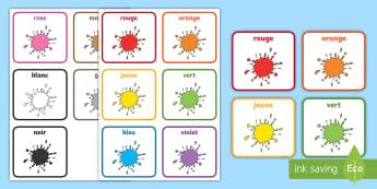 Flashcards : Le nom des couleurs - Couleurs, colours, Cycle 1, cartes, flashcards, ,French