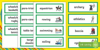 Paralympic Sports Word Cards - RIO Olympics, olympics, rio, 2016, paralympics, sport, word displays, word cards, display, Australia