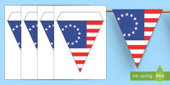 First American Flag Display Bunting - Social Studies, History, Colonial America, American Flag, First Flag, Betsy Ross, 13 Colonies