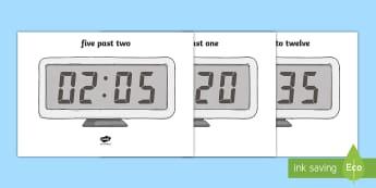 Digital Clocks to the Nearest 5 Minutes Display Posters - Digital Clocks - Half Past - Time resource, digital clock, Time vocaulary, clock face, O clock, half