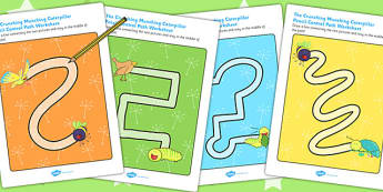 Pencil Control Path Worksheets to Support Teaching on The Crunching Munching Caterpillar