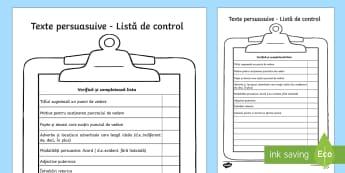 Listă de control pentru scrierea persuasivă - scriere, scriere persuasivă, română, comunicare, compunere, scriere functionala, scriere funcțio