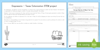 Texas Empresario Town Design STEM Activity - United States History, State history, Texas, STEM, history, empresario, Mapping, 3D map, map, texas