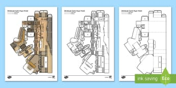 Edinburgh Castle Paper Model-Scottish - Paper craft, folding, Scotland, Scottish Landmarks, EXA, art,Scottish