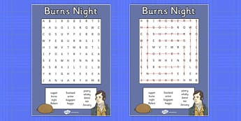 Burns Night Wordsearch - burns night, wordsearch, words, burns