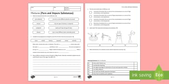 Mixtures (Pure and Impure Substances) Homework Activity Sheet - Homework, mixture, mixtures, separation, separation methods, separation techniques, worksheet, disti