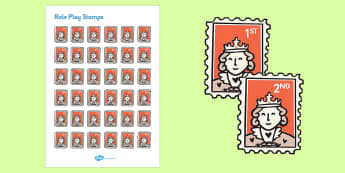 Role Play Stamps - Stamps, stamp, role play, buying, Postcards, Postcard, post office, shop,