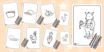 Colouring Sheets to Support Teaching on What's The Time, Mr Wolf? - colour, worksheets