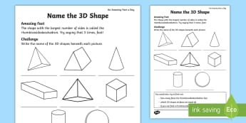 Name the 3D Shape Activity Sheet - Amazing Fact Of The Day, activity sheets, powerpoint, Worksheet, starter, morning activity, May, sha