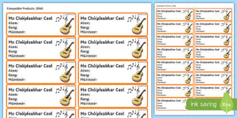Irish Gaeilge Pupil Music Copybook Labels