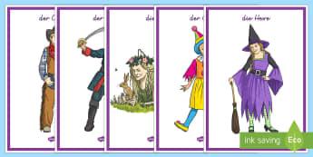 Faschingskostüme Poster DIN A4 - Fasching, Fastnacht, Fasnet, Karneval, Kostüm, Verkleidung, Prinzessin, Fee, Vampir, Pirat, Zaubere