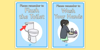 Signs For the Toilet - toilet sign, wash your hands, sign, poster, toilet, loo, wash