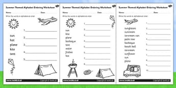Summer Differentiated Alphabet Ordering Worksheet - season, order