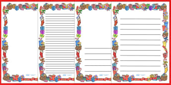 Present (Gift) Page Borders - present, gift, page border, border, writing template, writing aid, writing aid, birthday, friend, family, love