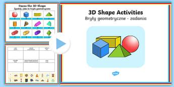 3D Shapes PowerPoint Activity Pack English/Polish - 3D Shapes PowerPoint Activity pack - activities, powerpoints, shpes, 3d shaoes, 3dshape, 3d sape, 3d