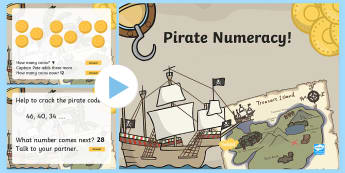 Year 2 Pirate-Themed Numeracy PowerPoint - DCF, maths, challenge, activities,Welsh