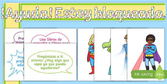 Superhero-Themed Ready-Made 'Help! I'm Stuck, What Should I Do?' Spanish Display Pack