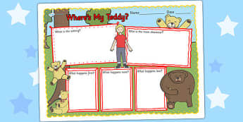 Wheres My Teddy Book Review Writing Frame - wheres my teddy, book review, writing frame, book review writing frame, writing aid, writing template