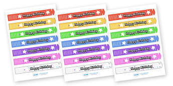 Wristband Awards (Happy Birthday) - wristband, band, award, reward, award, certificate, medal, rewards, school reward, star of the day