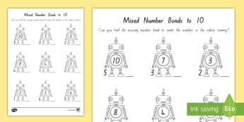 Mixed Number Bonds to 10 on Robots Activity Sheet - New Zealand, maths, number bonds, addition to 10, numbers to 10, Years 1-3, number bonds to 10, addi
